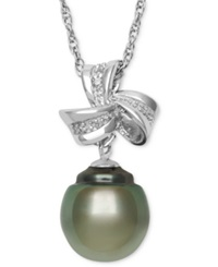 Macy's Sterling Silver Necklace Cultured Tahitian Pearl 9Mm And Diamond Accent Bow Drop Pendant