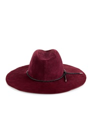 Emilio Pucci Woven Leather Trim Suede Hat