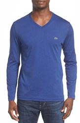 Lacoste Men's Pima Cotton V Neck T Shirt Waterfall Blue