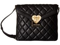 Love Moschino Quilted Emblem Crossbody Camera Black Cross Body Handbags
