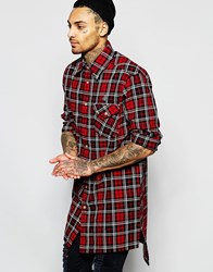 Vivienne Westwood Anglomania Longline Checked Shirt With Padded Detail Red