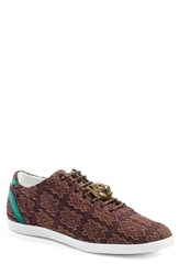 Gucci Men's 'Bambi' Woven Sneaker With Genuine Snakeskin Detail