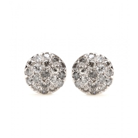 Roberto Marroni 18Kt Rhodium Plated White Gold Baby Sand Diamond Encrusted Earrings