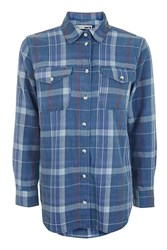 Topshop Moto Navy Heavy Check Shirt Navy Blue