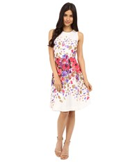 Donna Morgan Sleeveless Twill Fit And Flare With Floral Print And Full Skirt Rasberry Multi Women's Dress Pink