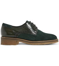 Dune Faithe Leather And Suede Derby Brogues Green Leather