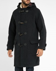 Armor Lux Charcoal Oversize Wool Cashmere Duffle Coat With Zip And Buttons