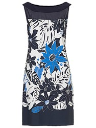 Betty Barclay Floral Printed Dress White Blue