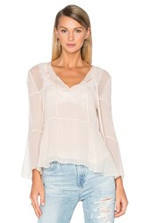 The Kooples Long Sleeve Lace Pleat Top Ivory