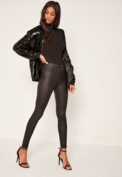 Missguided Black Coated Mid Rise Skinny Jeans