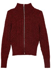 Isabel Marant Daley Metallic Red Cable Knit Cardigan