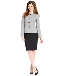 Le Suit Windowpane Print Tweed Jacket Skirt Suit Black Whit