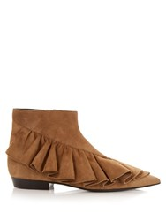 J.W.Anderson Ruffled Suede Ankle Boots Tan