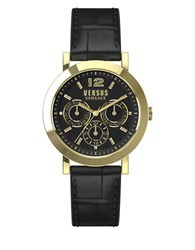 Versus By Versace Manhasset Goldtone Stainless Steel Black Leather Strap Watch Sor020015