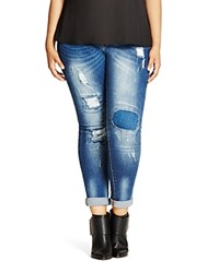 City Chic Harley Distressed Patched Skinny Jeans In Denim