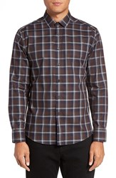 Vince Camuto Men's Trim Fit Print Sport Shirt Coffee Navy Plaid