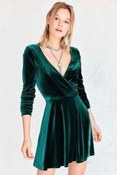 Kimchi And Blue Iris Velvet Surplice Mini Dress Dark Green