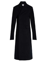 Vetements Double Breasted Brushed Cotton Coat Navy