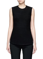 Victoria Beckham Built In Bustier Wool Sleeveless Top Black