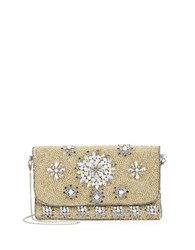 G Lish Floral Embellished Clutch Gold