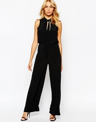 Love Wide Leg Jumpsuit With Deep Plunge And Scarf Detail Black