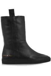 Common Projects Sherpa Faux Shearling Lined Leather Ankle Boots Black