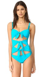 Moschino One Piece Cutout Swimsuit Blue