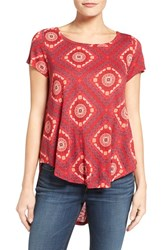 Lucky Brand Women's Tile Print High Low Tee Red Multi