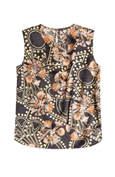 Agnona Printed Sleeveless Silk Top