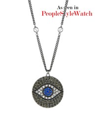 Theodora And Callum Evil Eye Pave Necklace Blue