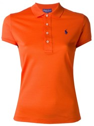 Ralph Lauren Purple Embroidered Logo Polo Shirt Yellow And Orange