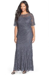 Xscape Evenings Plus Size Women's Short Sleeve Shimmer Lace Gown