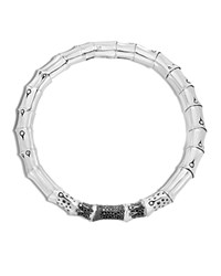 John Hardy Sterling Silver Bamboo Lava Necklace With Black Sapphire 18 Black Silver
