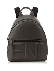 Fendi Logo Embossed Leather Backpack Grey
