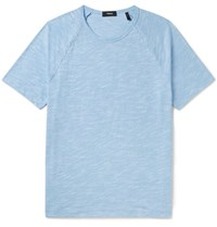 Theory Dustyn Slim Fit Slub Cotton Blend T Shirt Blue