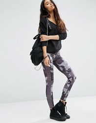 Asos Camo Printed Leggings With Side Stripe Multi