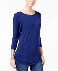 Planet Gold Juniors' Ruched Dolman Sleeve Top Navy Peony