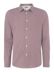 Linea Men's Griffiths Long Sleeve Polka Dot Shirt Burgundy