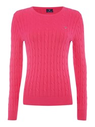 Gant Cotton Cable Crew Neck Jumper Pink
