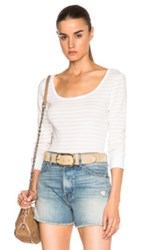Frame Denim Boatneck Long Sleeve Tee In Stripes Neutrals