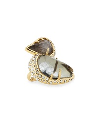 Alexis Bittar Pyrite And Moonstone Cocktail Ring W Rhinestones