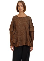 Lanvin Oversized Metallic Ribbed Ruffle Sweater Bronze