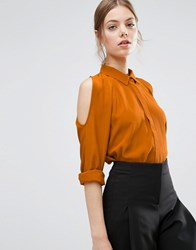 Asos Cold Shoulder Oversized Blouse With Batwing Sleeve Ochre Yellow
