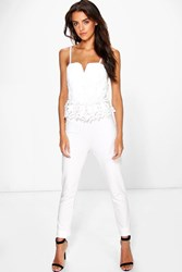 Boohoo Kellie Lace Peplum Jumpsuit Cream