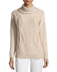 Lafayette 148 New York Cowl Neck Diamond Cable Knit Sweater Melba Mela