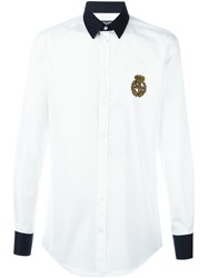 Dolce And Gabbana Embroidered Crown Logo Shirt White