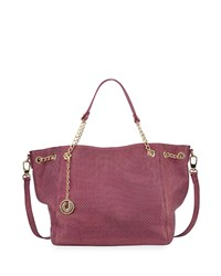 Charles Jourdan Nalo Embossed Leather Tote Bag Fuchsia