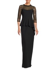 Teri Jon Three Quarter Sleeve Illusion Neckline Beaded Peplum Gown Black
