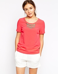 See U Soon Shell Top With Beaded Necklace Detail Pink