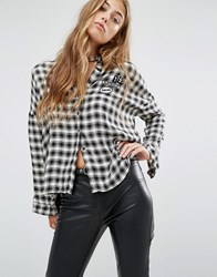 Pull And Bear Pullandbear Check Shirt With Long Sleeve In Mono With Patches Cream